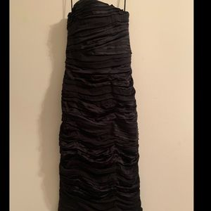 Alice and Olivia ruched strapless silk dress